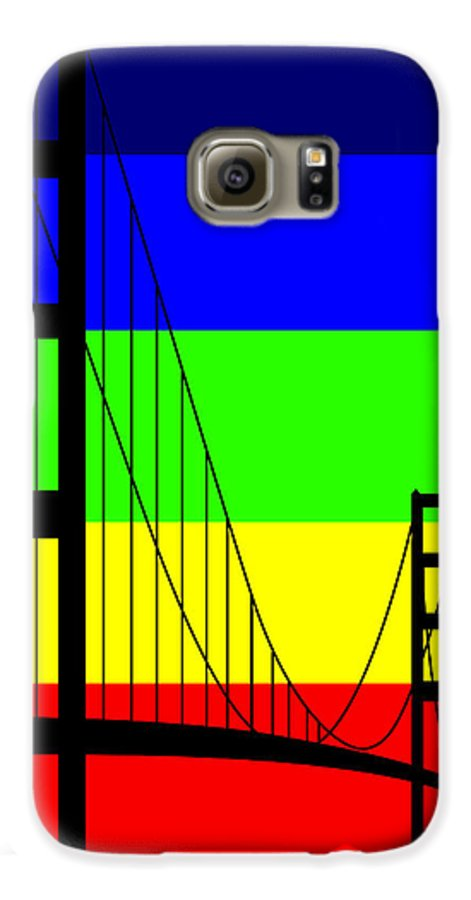 Golden Gate Galaxy S6 Case featuring the digital art Golden Gay by Asbjorn Lonvig