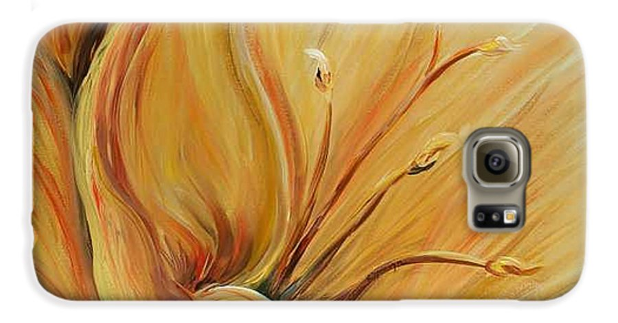 Gold Galaxy S6 Case featuring the painting Golden Glow by Nadine Rippelmeyer