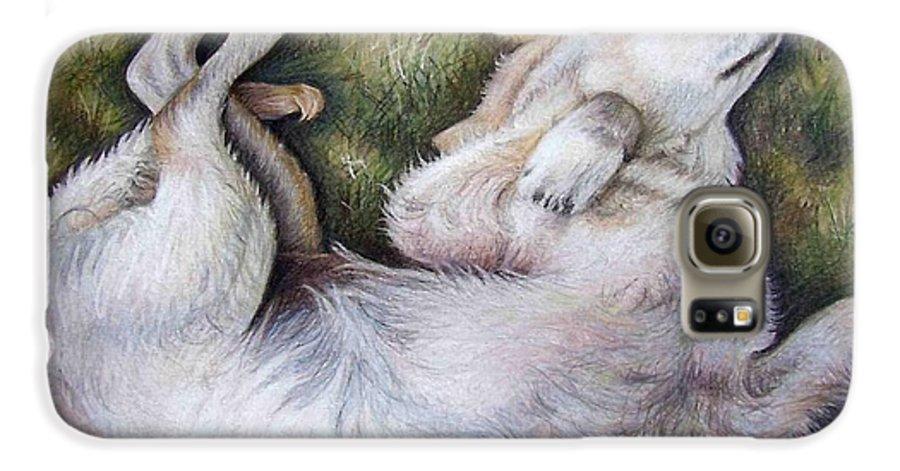 Dog Galaxy S6 Case featuring the pastel Golden Retriever Puppy by Nicole Zeug