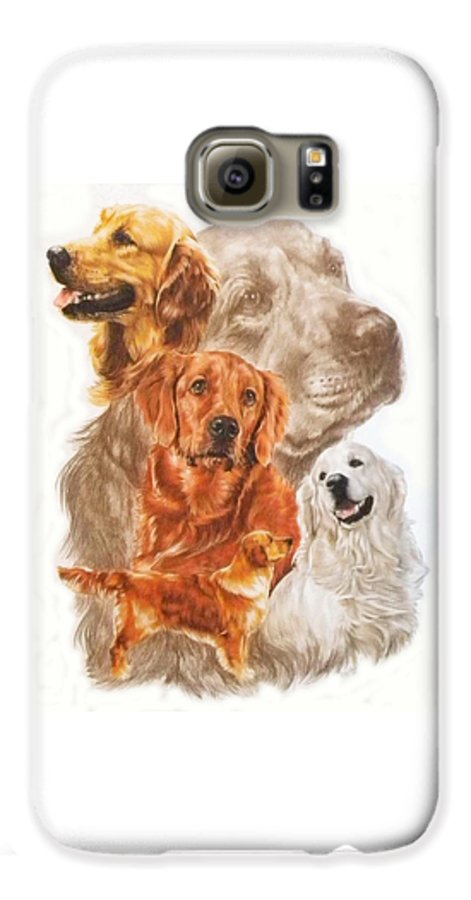 Retriever Galaxy S6 Case featuring the mixed media Golden Retriever W/ghost by Barbara Keith