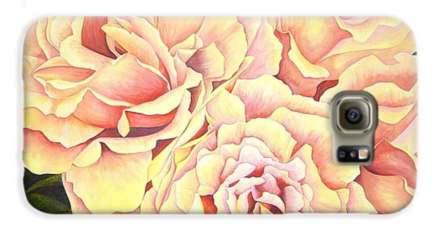 Roses Galaxy S6 Case featuring the painting Golden Roses by Rowena Finn