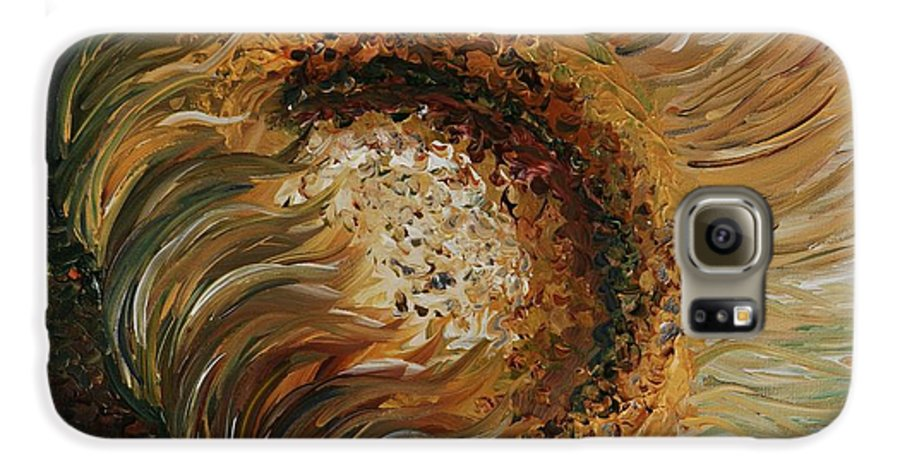 Sunflower Galaxy S6 Case featuring the painting Golden Sunflower by Nadine Rippelmeyer