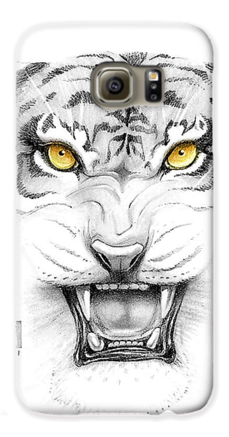 Amber Galaxy S6 Case featuring the digital art Golden Tiger Eyes by Melissa A Benson