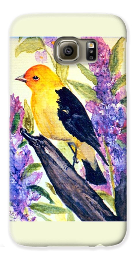 Birds Galaxy S6 Case featuring the painting Goldfinch by Gail Kirtz
