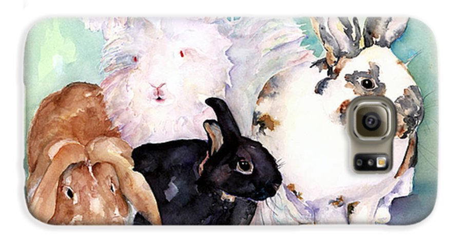 Animal Artwork Galaxy S6 Case featuring the painting Good Hare Day by Pat Saunders-White