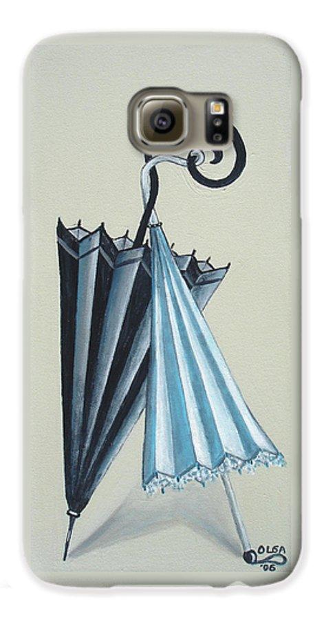 Umbrellas Galaxy S6 Case featuring the painting Goog Morning by Olga Alexeeva