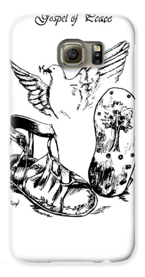 Armor Galaxy S6 Case featuring the drawing Gospel Of Peace by Maryn Crawford
