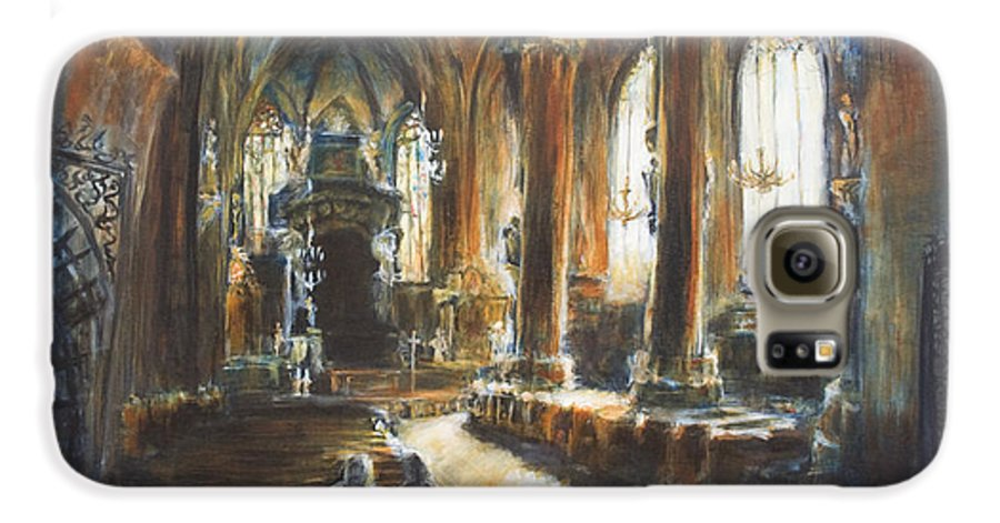 Church Galaxy S6 Case featuring the painting Gothic Church by Nik Helbig