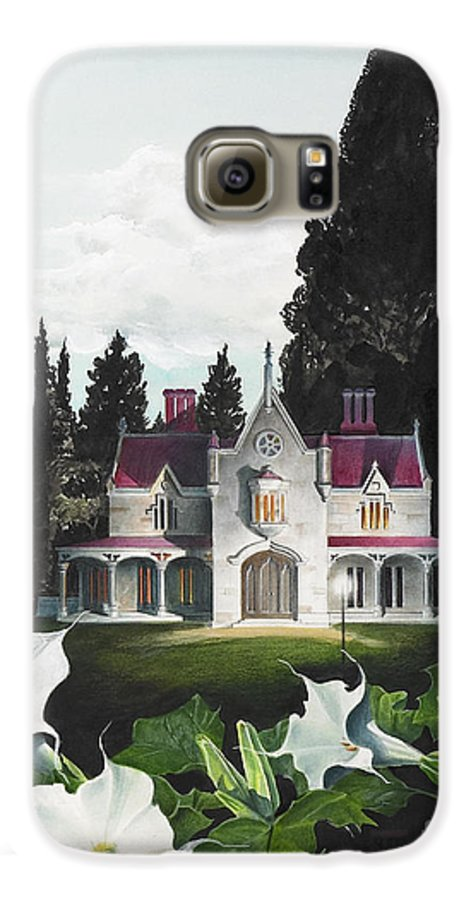 Fantasy Galaxy S6 Case featuring the painting Gothic Country House Detail From Night Bridge by Melissa A Benson