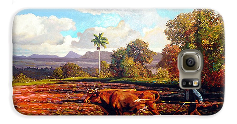 Cuban Art Galaxy S6 Case featuring the painting Grandfather Farm by Jose Manuel Abraham