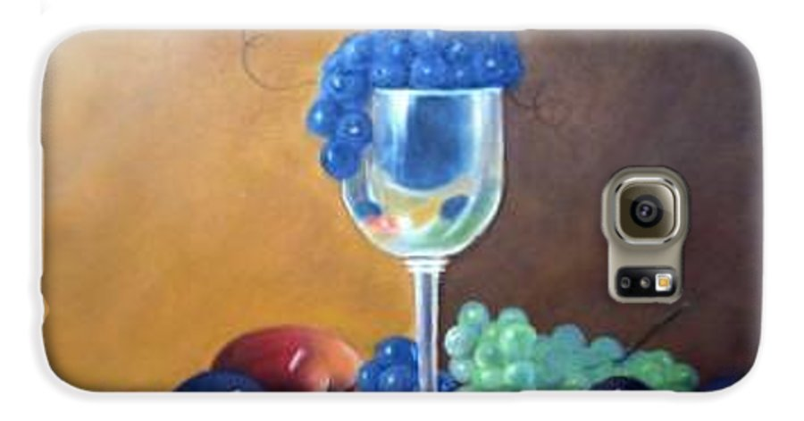 Wine Galsses With Grapes Galaxy S6 Case featuring the painting Grapes And Plums by Susan Dehlinger