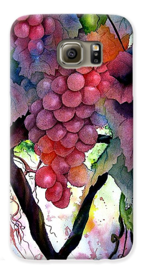 Grape Galaxy S6 Case featuring the painting Grapes IIi by Karen Stark