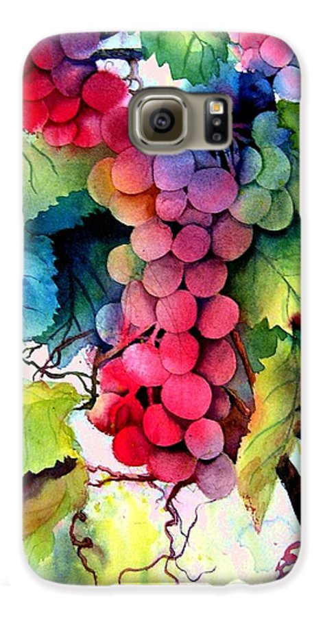Grapes Galaxy S6 Case featuring the painting Grapes by Karen Stark