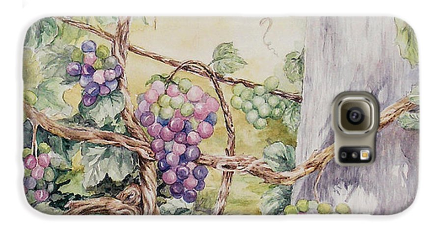 Vines Galaxy S6 Case featuring the painting Grapevine Laurel Lakevineyard by Valerie Meotti