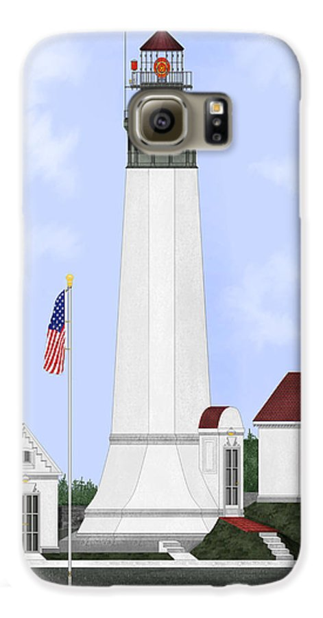 Lighthouse Galaxy S6 Case featuring the painting Grays Harbor Light Station Historic View by Anne Norskog