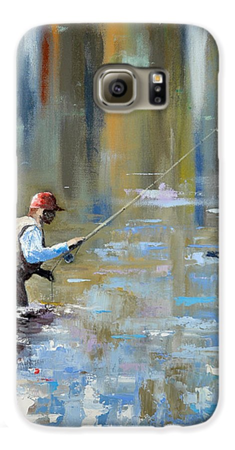 Flyfishing Galaxy S6 Case featuring the painting Great Expectations by Glenn Secrest