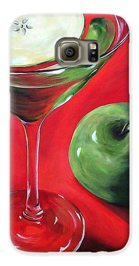 Martini Galaxy S6 Case featuring the painting Green Apple Martini by Torrie Smiley