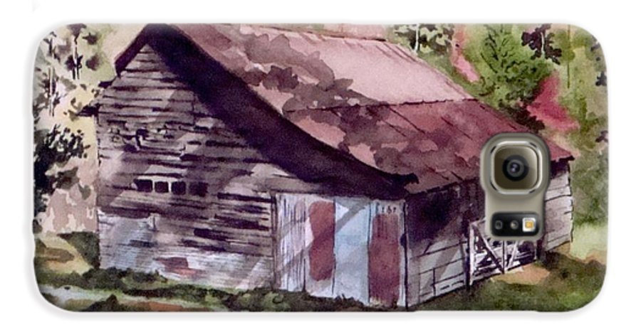 Barns Galaxy S6 Case featuring the painting Green Creek Barn by Jean Blackmer
