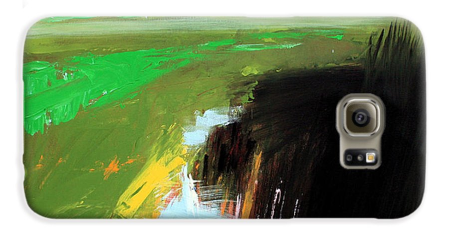Abstract Landscape Galaxy S6 Case featuring the painting Green Field by Mario Zampedroni