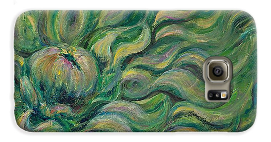 Green Galaxy S6 Case featuring the painting Green Flowing Flower by Nadine Rippelmeyer