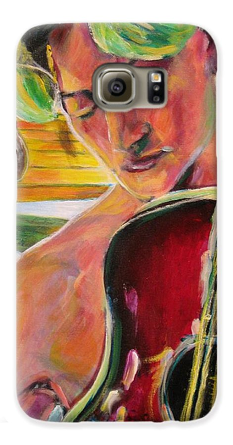 Boy Galaxy S6 Case featuring the painting Green Hair Red Bass by Dennis Tawes