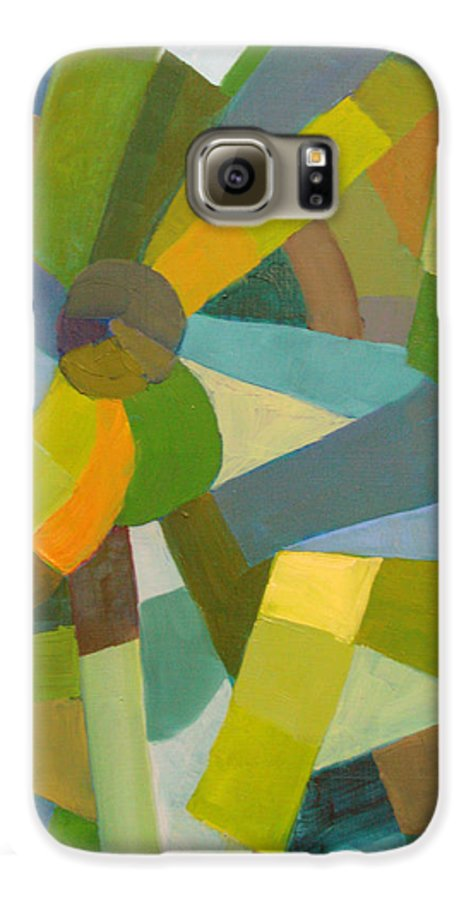 Green Galaxy S6 Case featuring the painting Green Pallette by Art Nomad Sandra Hansen