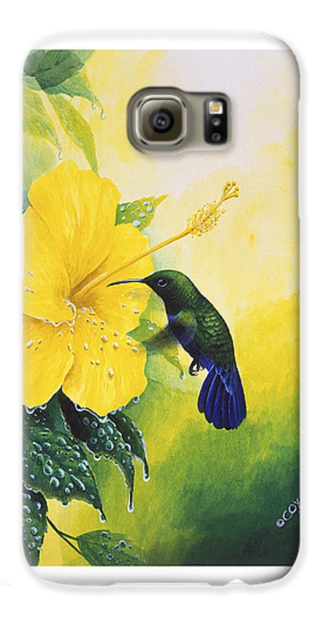 Chris Cox Galaxy S6 Case featuring the painting Green-throated Carib Hummingbird And Yellow Hibiscus by Christopher Cox