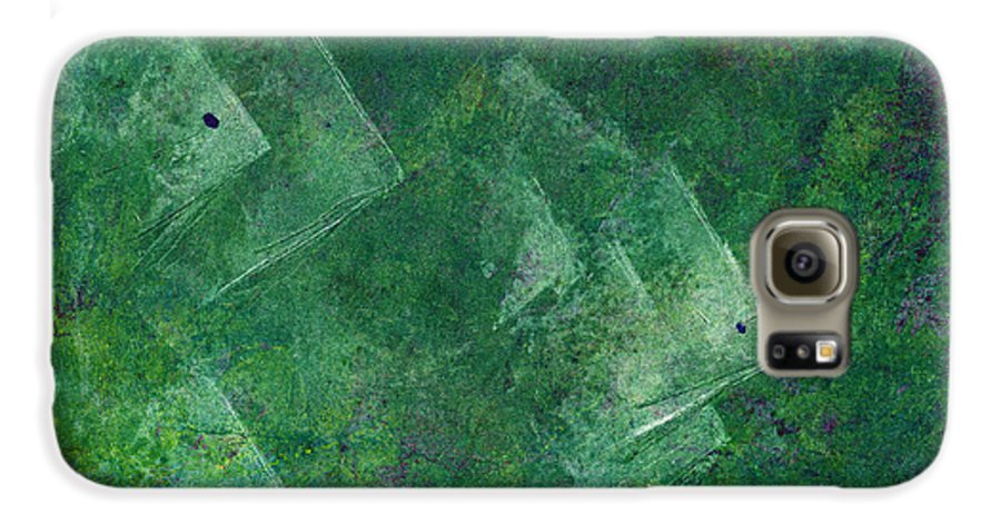 A School Of Fish In Green Water- Monotype Print Galaxy S6 Case featuring the painting Green Water by Mui-Joo Wee