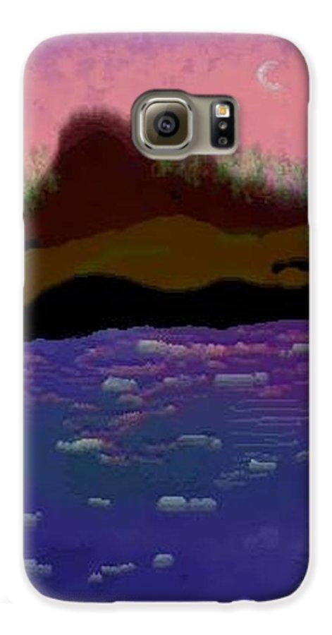 Sky.moon. Rose Sun Reflection.mount.forest. Island.sea.little Icebergs.deep Water Galaxy S6 Case featuring the digital art Greenland.summer by Dr Loifer Vladimir