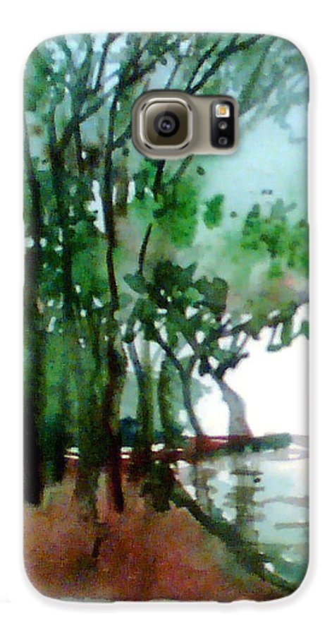 Water Color Galaxy S6 Case featuring the painting Greens by Anil Nene