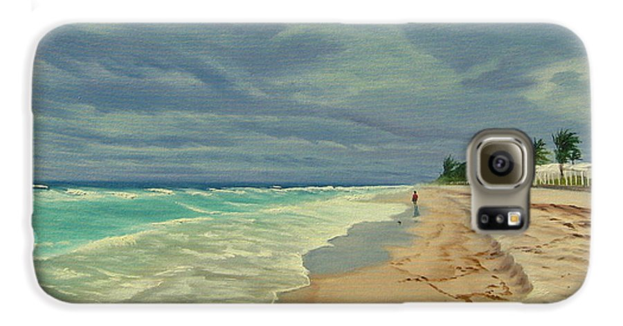 Beach Galaxy S6 Case featuring the painting Grey Day On The Beach by Lea Novak