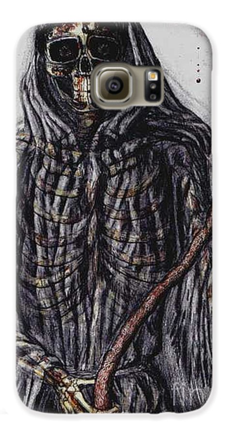 Grim Reaper Galaxy S6 Case featuring the drawing Grim Reaper Colored by Katie Alfonsi