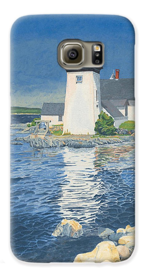 Lighthouse Galaxy S6 Case featuring the painting Grindle Point Light by Dominic White