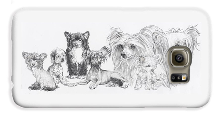 Toy Group Galaxy S6 Case featuring the drawing Growing Up Chinese Crested And Powderpuff by Barbara Keith