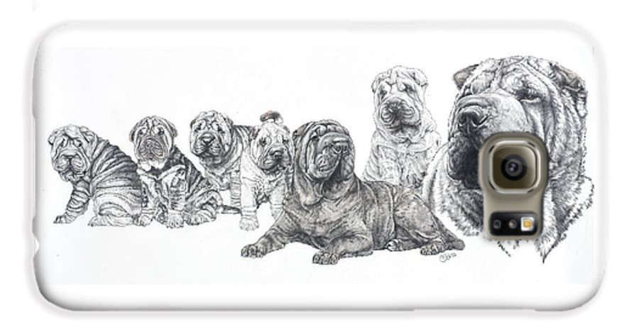 Non-sporting Group Galaxy S6 Case featuring the drawing Growing Up Chinese Shar-pei by Barbara Keith