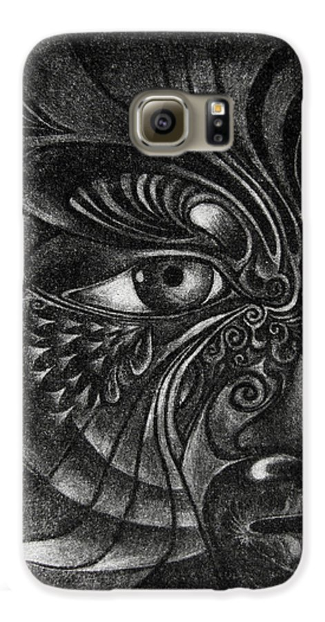 Mezzotint Galaxy S6 Case featuring the drawing Guardian Cherub by Otto Rapp