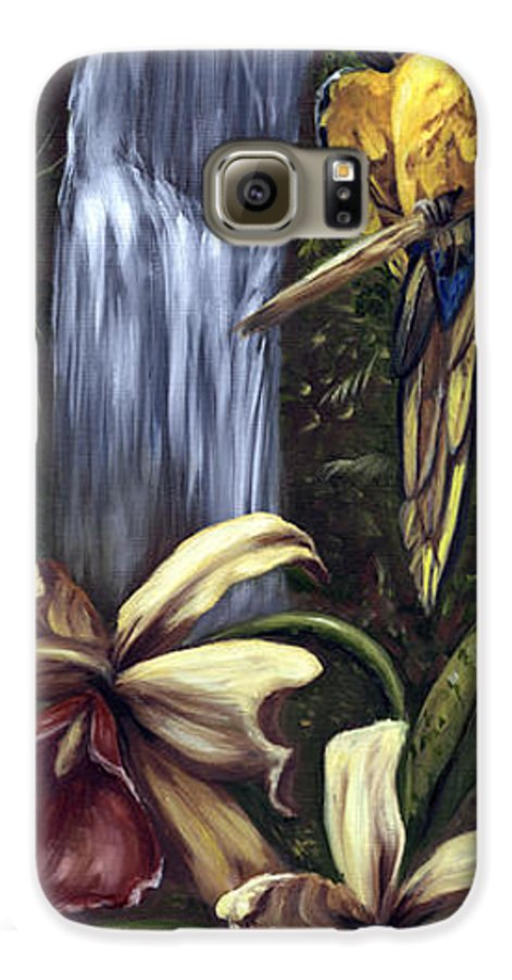 Birds Galaxy S6 Case featuring the painting Guardian Of The Falls by Anne Kushnick
