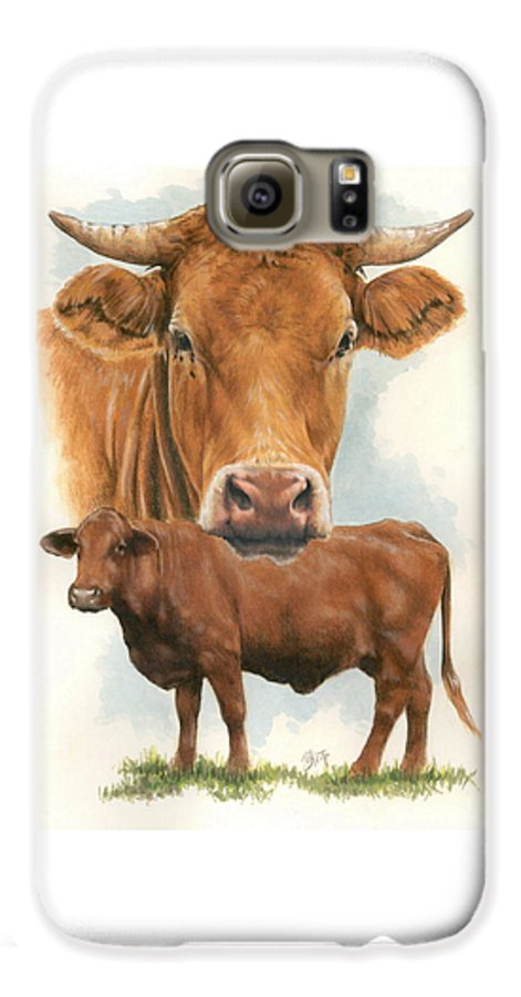 Cow Galaxy S6 Case featuring the mixed media Guernsey by Barbara Keith