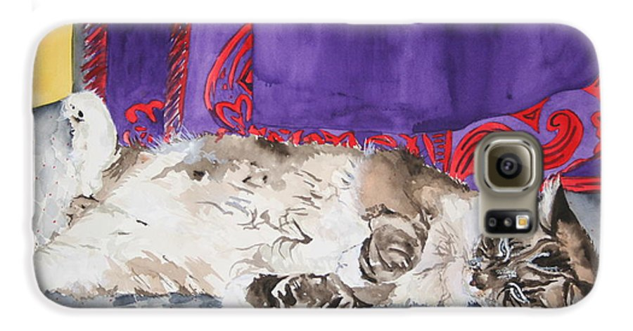 Cat Galaxy S6 Case featuring the painting Guilley by Jean Blackmer