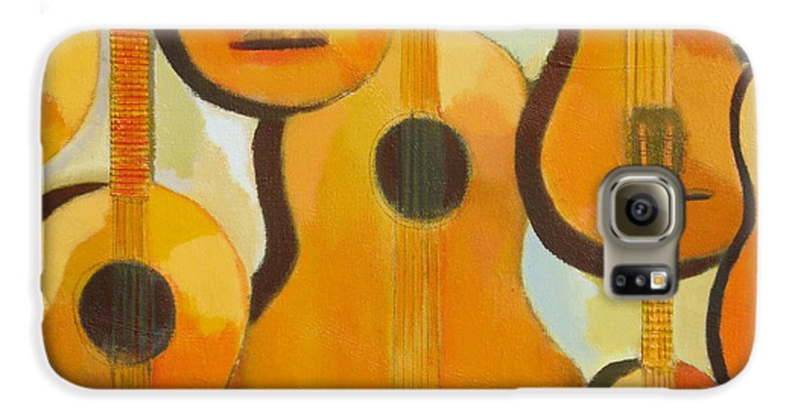 Abstract Galaxy S6 Case featuring the painting Guitars by Habib Ayat