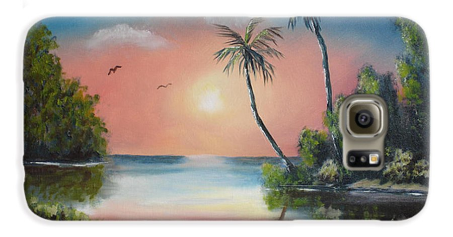 Sunset Galaxy S6 Case featuring the painting Gulf Coast Sunset by Susan Kubes