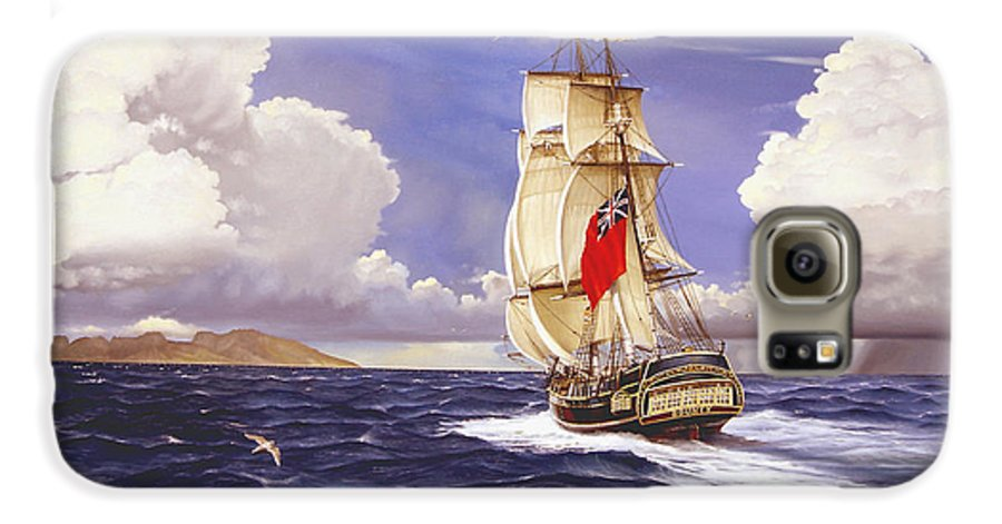 Marine Galaxy S6 Case featuring the painting H. M. S. Bounty At Tahiti by Marc Stewart