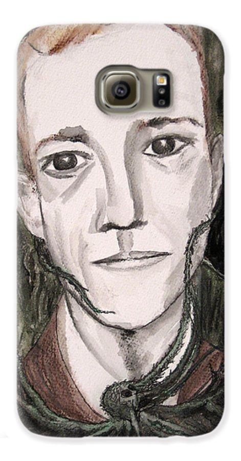 Artist Cthulhu Darkest Darkestartist Fiction H Horror Hp Lovecraft Macabre Man Mythos P Painting Por Galaxy S6 Case featuring the painting H P Lovecraft by Darkest Artist