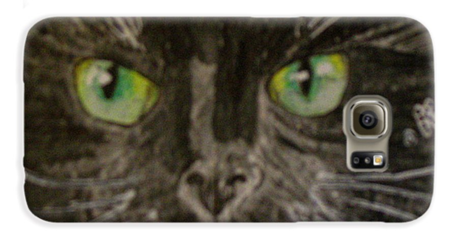 Halloween Galaxy S6 Case featuring the painting Halloween Black Cat I by Kathy Marrs Chandler