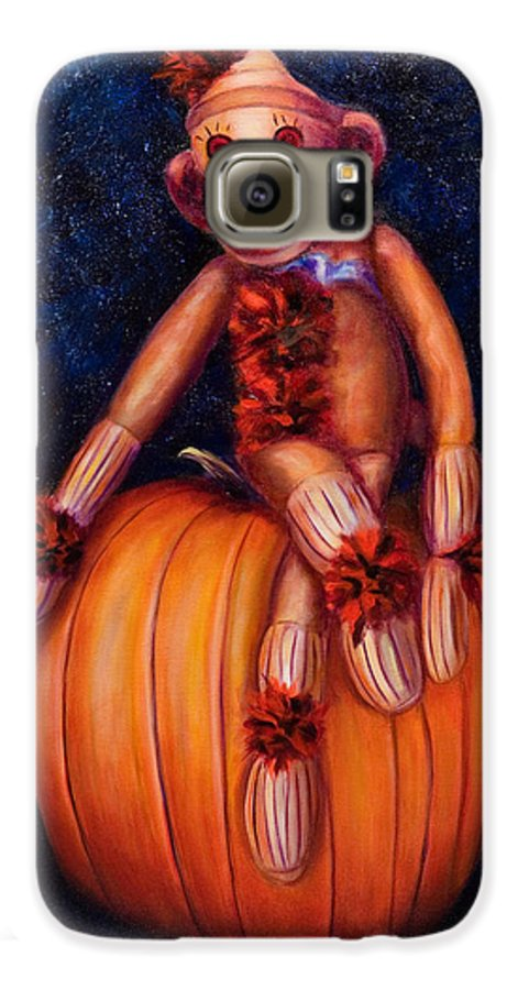 Pumpkin Galaxy S6 Case featuring the painting Halloween by Shannon Grissom