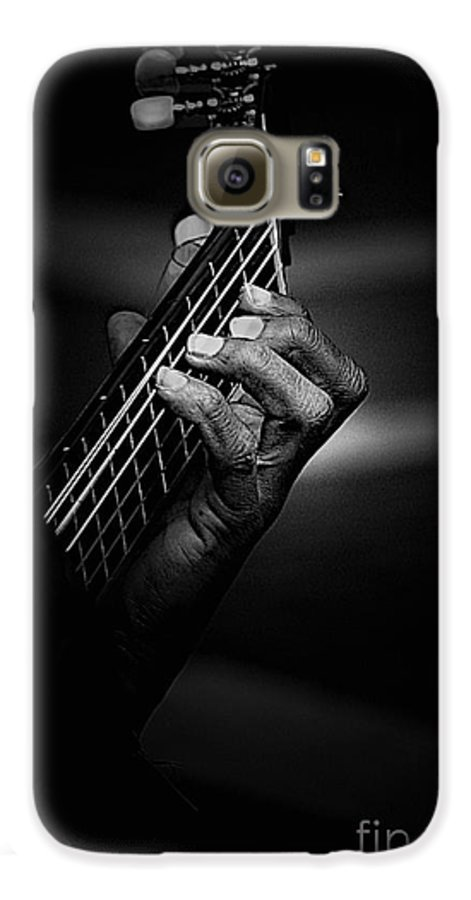 Guitar Galaxy S6 Case featuring the photograph Hand Of A Guitarist In Monochrome by Avalon Fine Art Photography