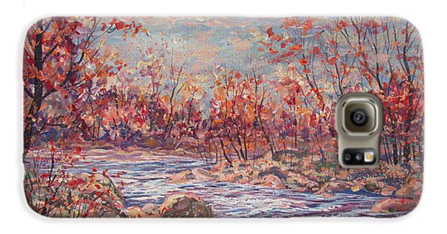 Landscape Galaxy S6 Case featuring the painting Happy Autumn Days. by Leonard Holland