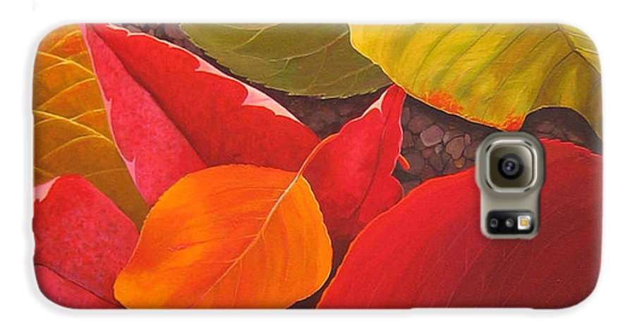 Autumn Leaves Galaxy S6 Case featuring the painting Happy Landings by Hunter Jay