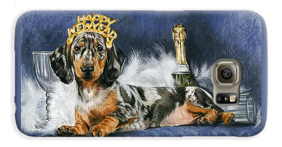 Dog Galaxy S6 Case featuring the mixed media Happy New Year by Barbara Keith