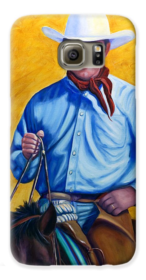 Cowboy Galaxy S6 Case featuring the painting Happy Trails by Shannon Grissom